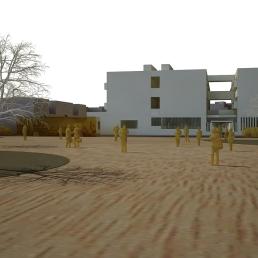 Maqueta virtual. Acceso a Primaria desde la plaza.