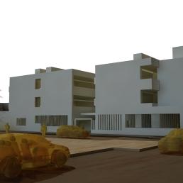 Maqueta virtual. Alzado este del edificio de Primaria.