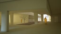 Maqueta virtual. Patio cubierto edificio Primaria.