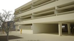Maqueta virtual. Alzado sur edificio Primaria.