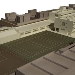 Maqueta virtual. Pistas deportivas y edificio de Primaria.