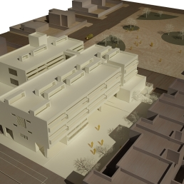 Maqueta virtual. Vista aérea del edificio de Primaria.