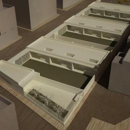 Maqueta virtual. Vista aérea edificio Infantil.
