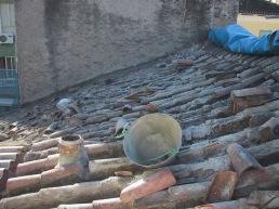 Inicio del proceso de retirada de las tejas del faldón [24|11|2005]
