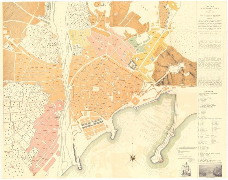 Plano de Málaga levantado en 1791 por Joseph Carrión de Mulas. Copia restituida publicada en 1973