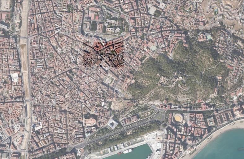 Situación en el centro histórico de Málaga