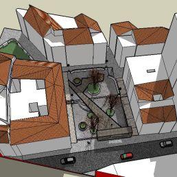 1. Vista aérea desde calle Carretería. Maqueta virtual