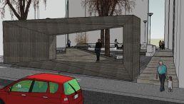 5. Las salidas, al fondo de la plaza. Maqueta virtual