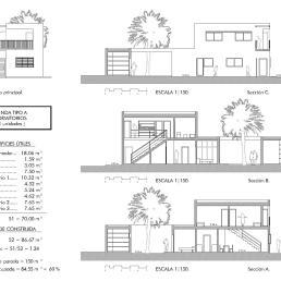 Vivienda tipo A [3 dormitorios]. Alzado y secciones
