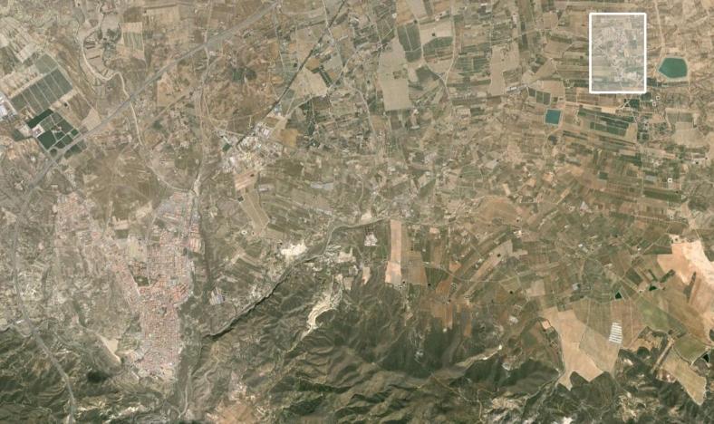 Situación en el término municipal en relación al núcleo de Huércal-Overa