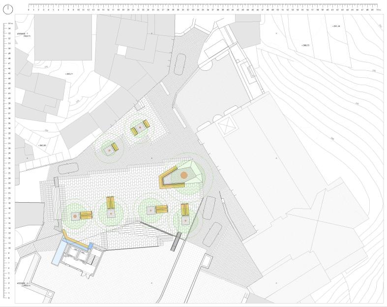 Planta de la propuesta de reordenación de la Plaza del Llano y su entorno en Casares